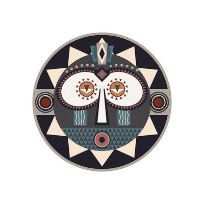 Arts de la table - Nappes, serviettes et sets - Set de table Mask / Ø 38 cm - Vinyle - PÔDEVACHE - Mask n°1 / Gris, bleu & beige - Vinyle