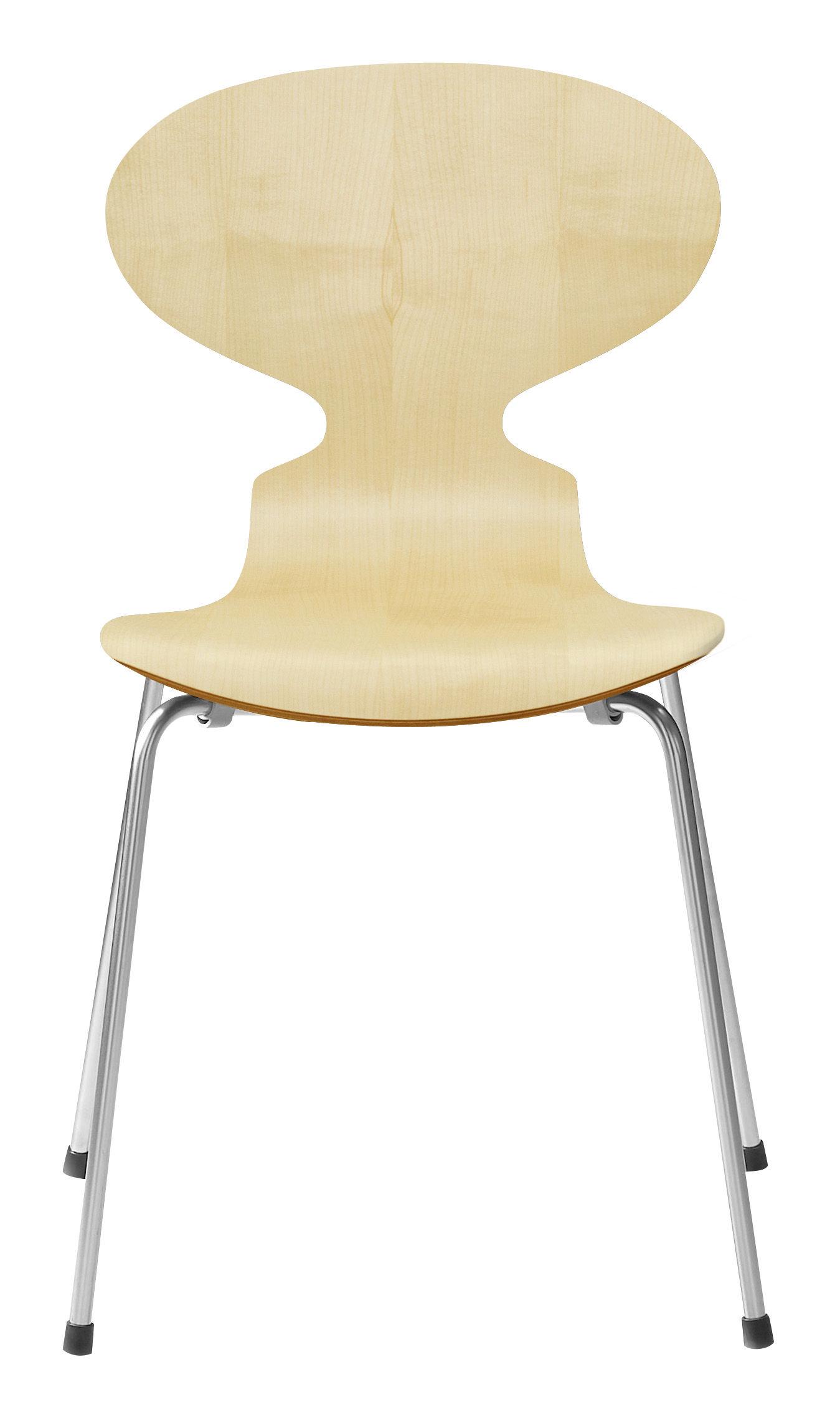 Möbel - Stühle  - Fourmi Stapelbarer Stuhl 4 Füße - Holz natur - Fritz Hansen - Ahorn - Contreplaqué d'érable verni, Stahl