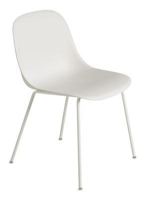 Möbel - Stühle  - Fiber Stuhl - Muuto - Weiß  / Fußgestell weiß - Recyceltes Verbundmaterial, Stahl