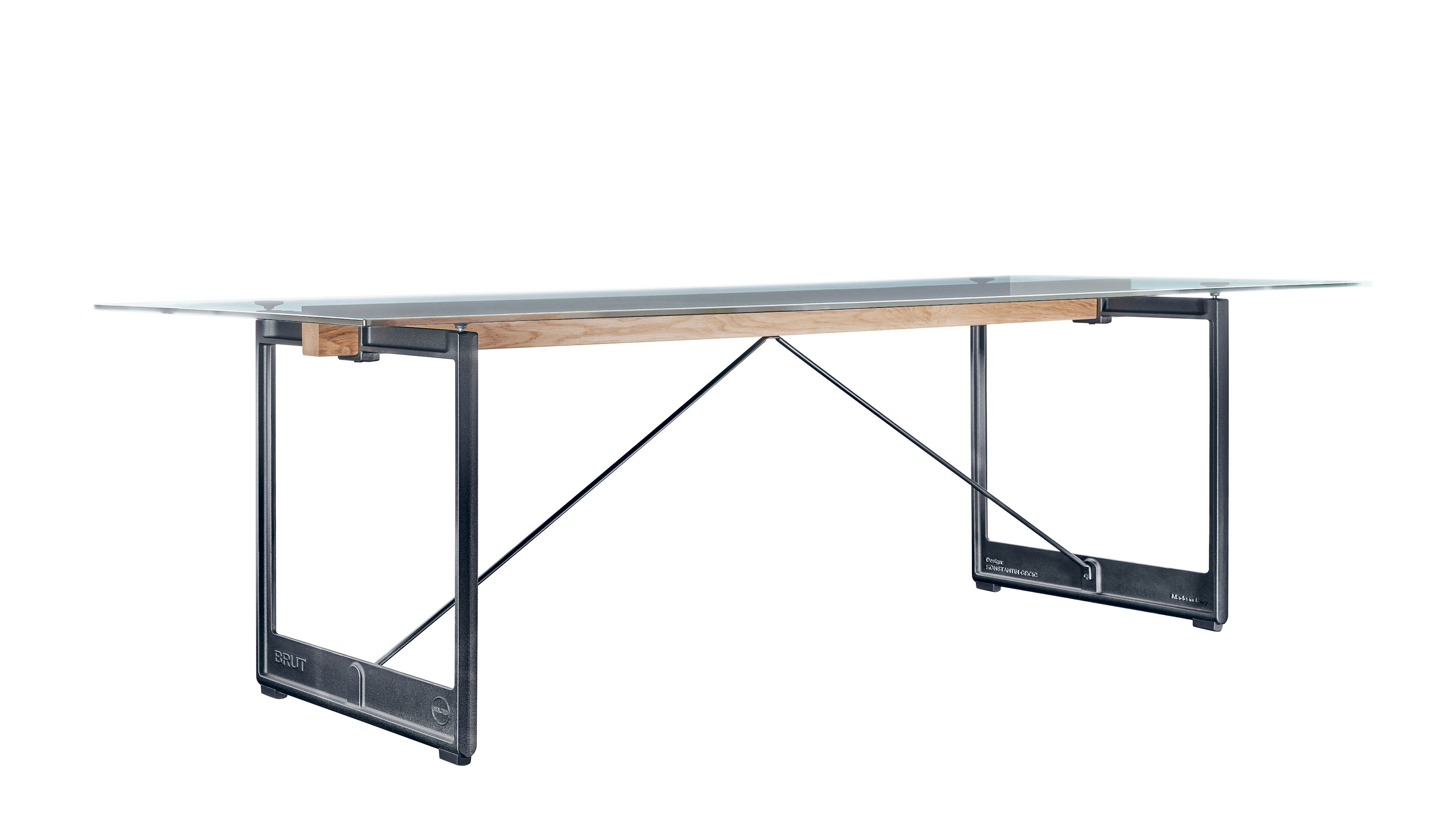 Furniture - Dining Tables - Brut Table - / Glass & cast iron - 260 x 85 cm by Magis - Transparent / Anthracite base - Fonte vernie, Soak glass