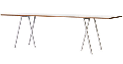 Back to school - Office furniture - Loop Table - L 200 cm by Hay - L 200 cm - White - Lacquered steel, Stratified