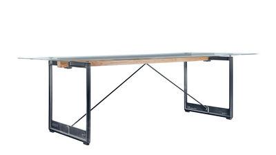 Maison et Objet - Matières brutes  - Table rectangulaire Brut / Verre & fonte - 260 x 85 cm - Magis - Transparent / Piètement anthracite - Fonte vernie, Verre trempé
