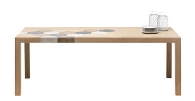 Table rectangulaire Cementino / Bois & carreaux de ciment - Mogg bois naturel en céramique