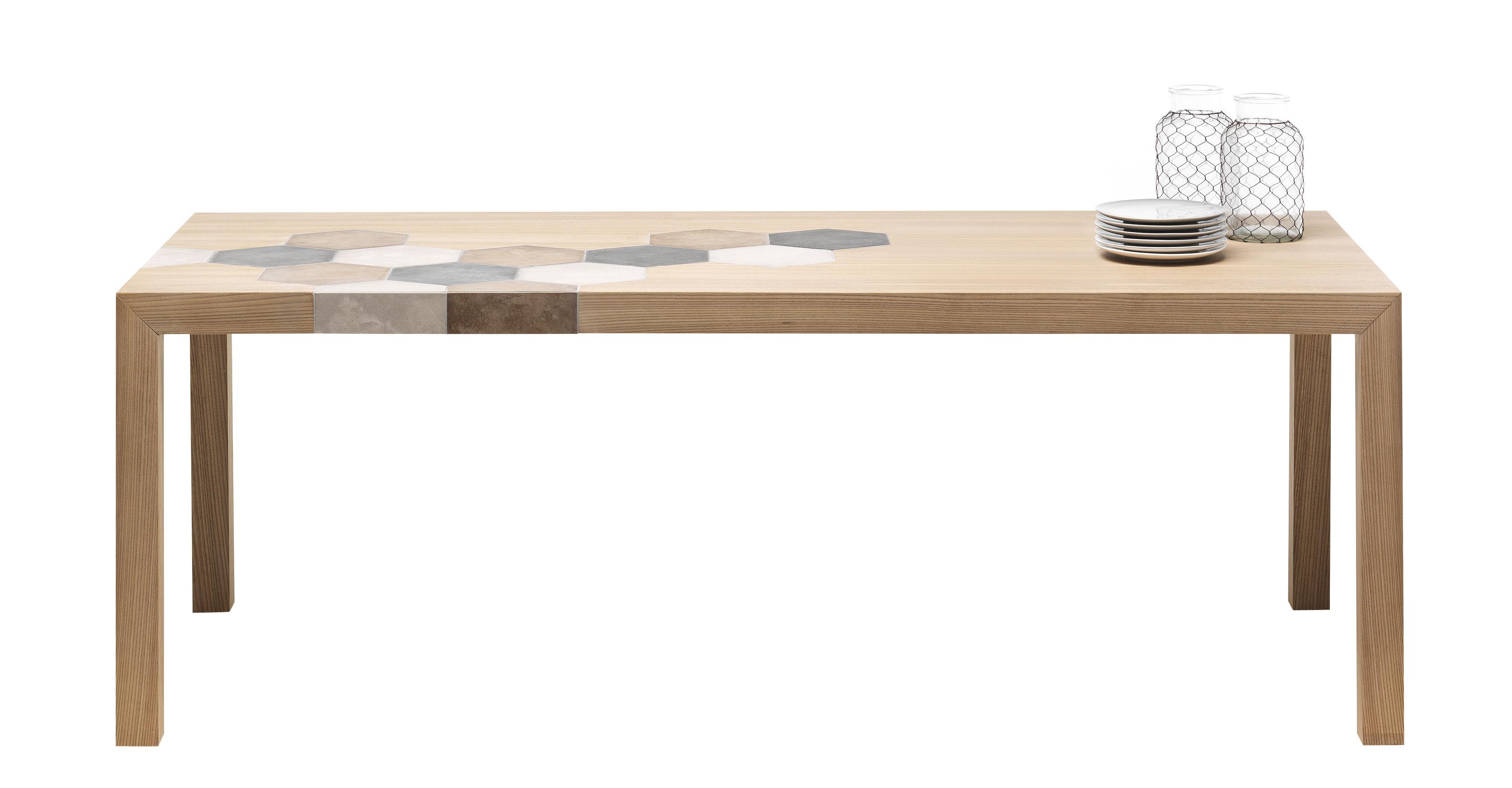 Mobilier - Tables - Table rectangulaire Cementino / Bois & carreaux de ciment - Mogg - Bois naturel - Carreaux de ciment, Orme massif