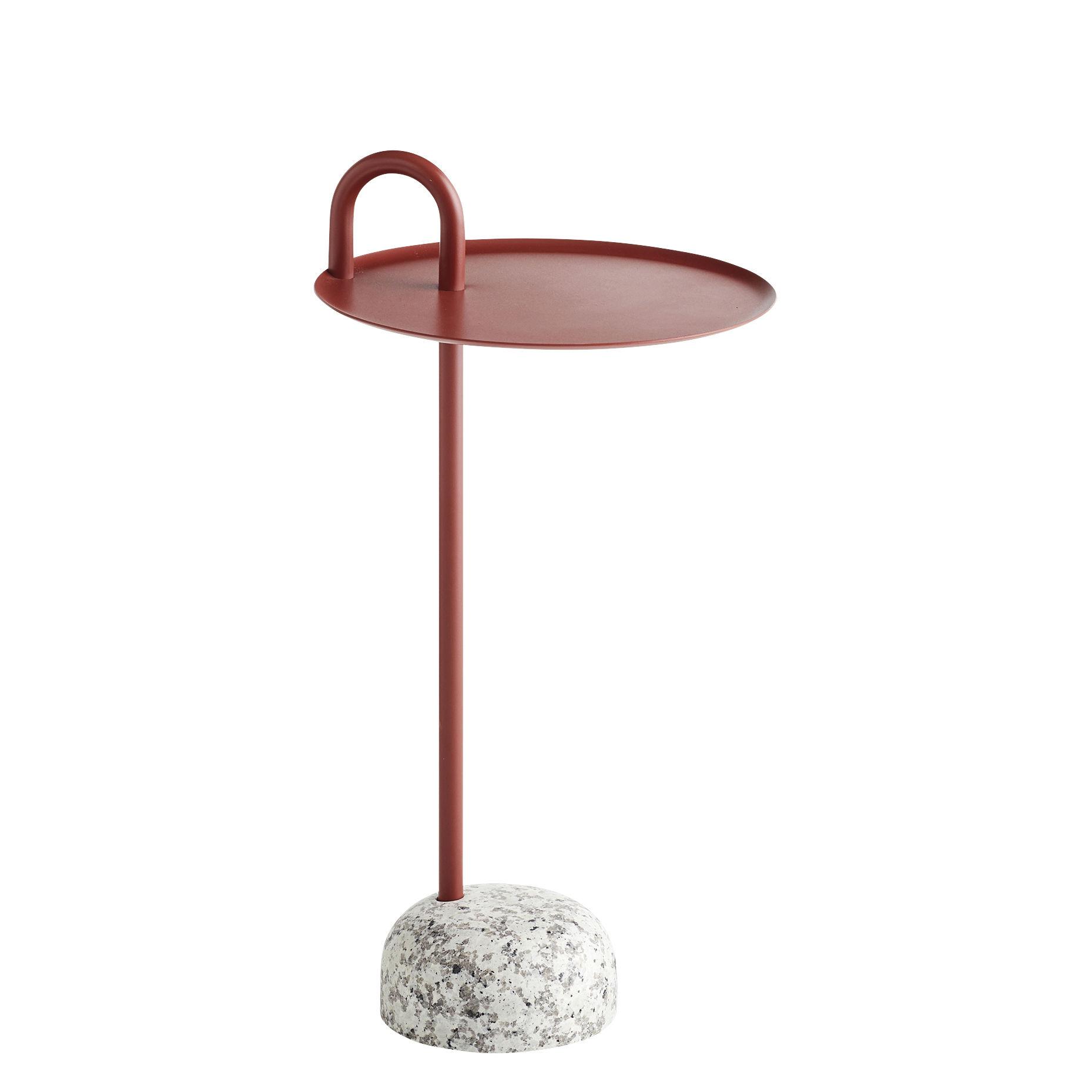 Arredamento - Tavolini  - Tavolino d'appoggio Bowler - / Metallo & granito di Hay - Rosso / Granito grigio - Acciaio laccato epossidico, Granito