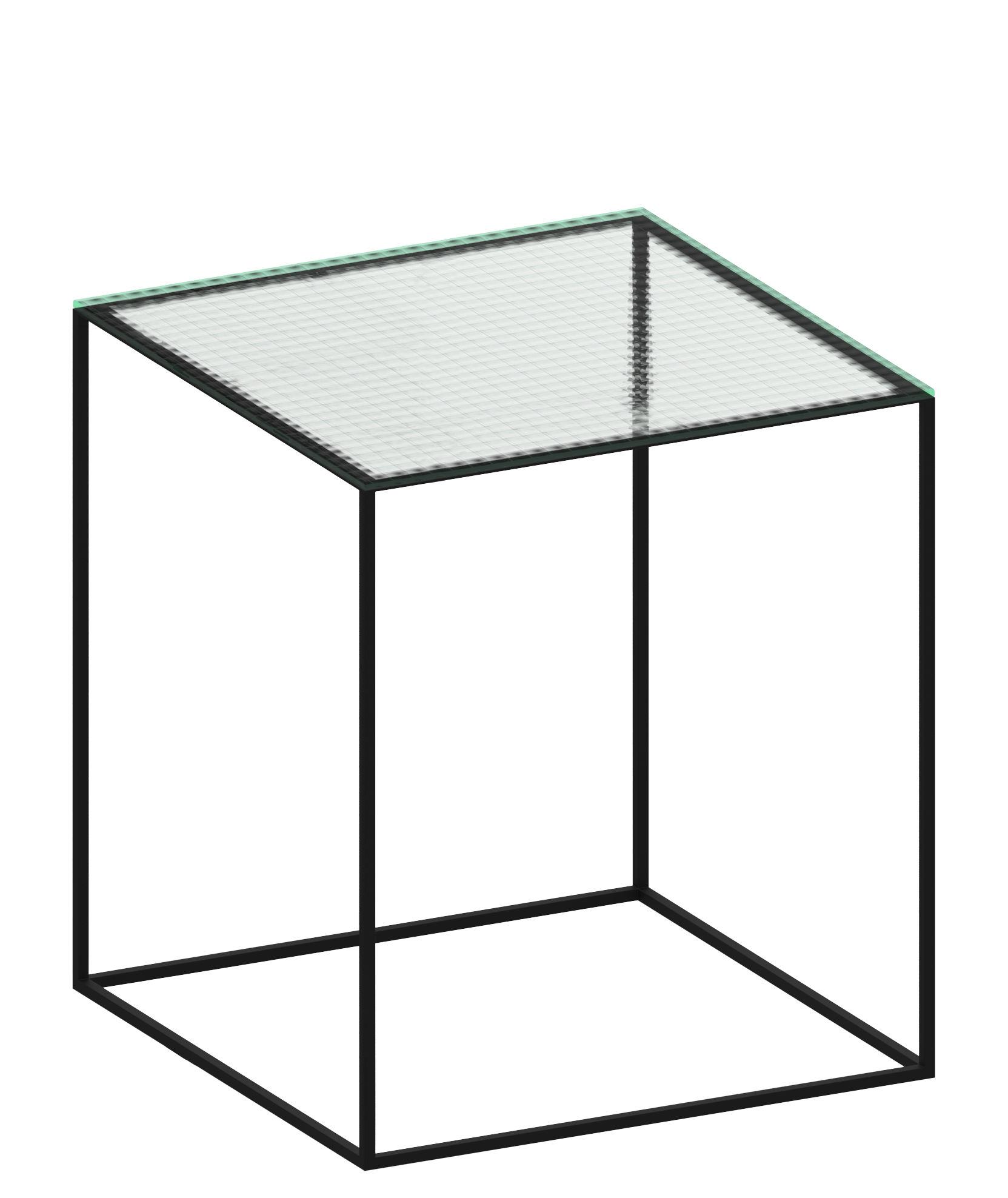 Arredamento - Tavolini  - Tavolino Slim Irony - Vetro trasparente / Piede nero ramato - Acciaio verniciato, Verre armé
