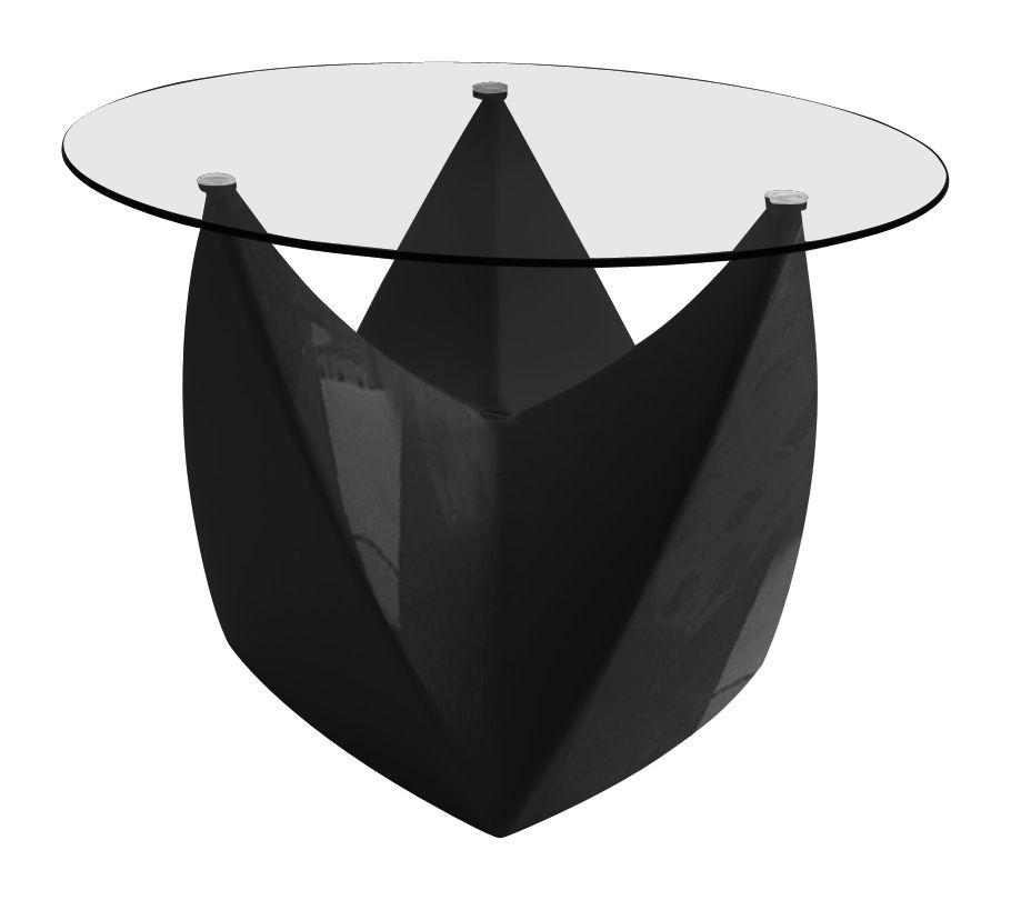 Arredamento - Tavolini  - Tavolino Mr. LEM - versione laccata di MyYour - Nero laccato - Piano trasparente - Polietilene rotostampato, Vetro