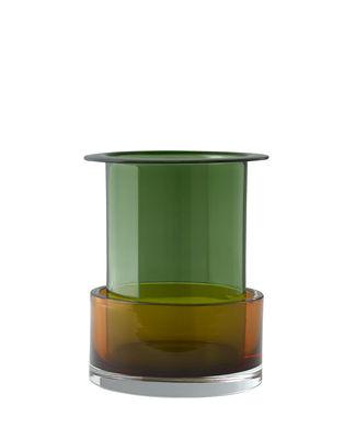 Déco - Vases - Vase Tricolore SH1 / Verre - Set 2 vases empilables - &tradition - n°1 / Ambre & Vert - Verre soufflé-moulé bouche