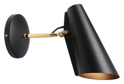 Luminaire - Appliques - Applique avec prise Birdy / L 31 cm - Réédition 1952 - Northern  - Noir / Bras laiton - Acier finition laiton, Aluminium peint