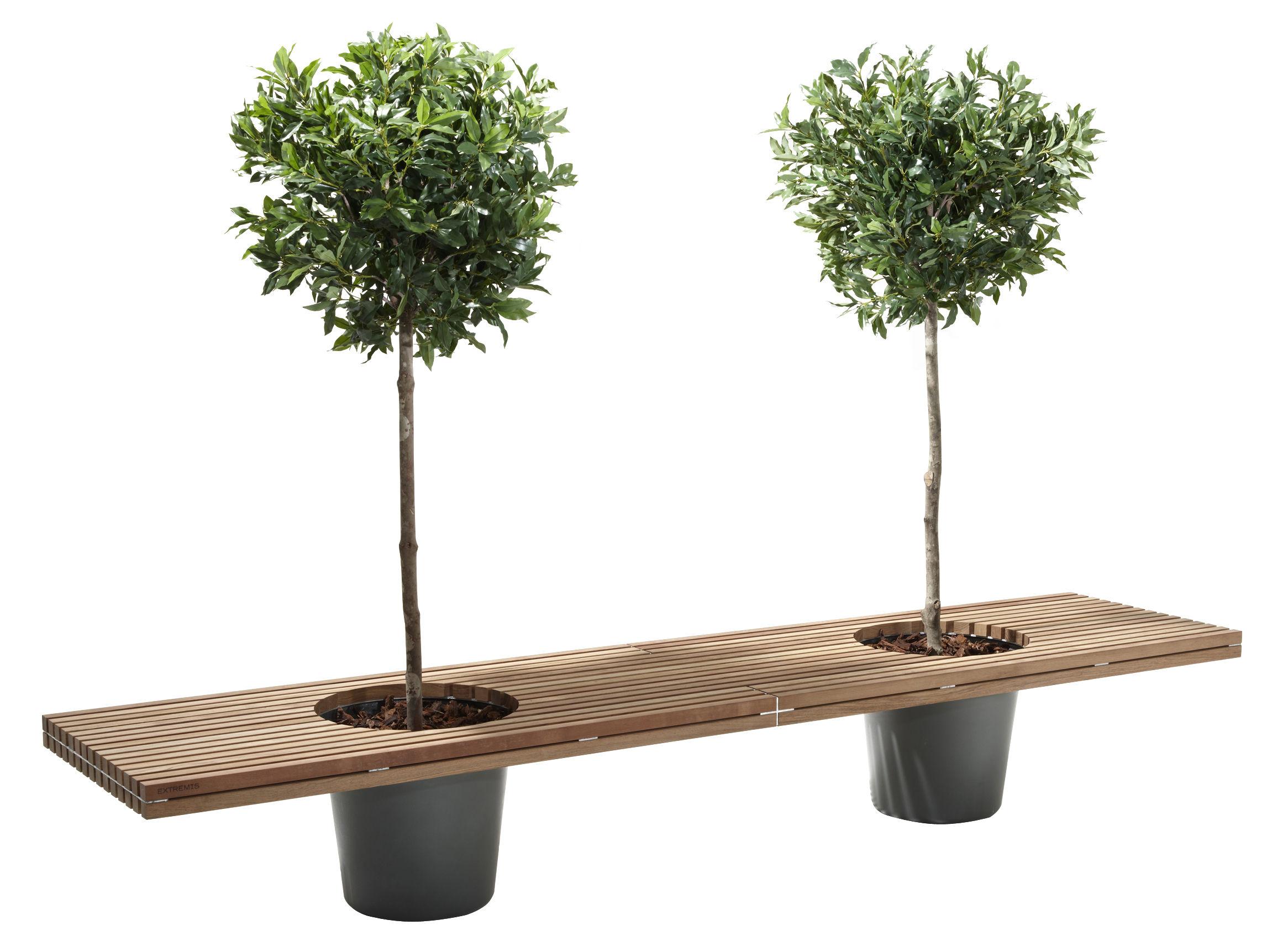 Möbel - Bänke - Romeo & Juliet Bank mit zwei integrierten Blumentöpfen - L 320 cm - Extremis - Holz / Töpfe grau - galvanisierter Stahl, Glasfaser, Holz