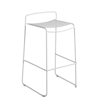 Furniture - Bar Stools - Surprising Bar stool - / Metal - H 78 cm by Fermob - Cotton white - Painted steel