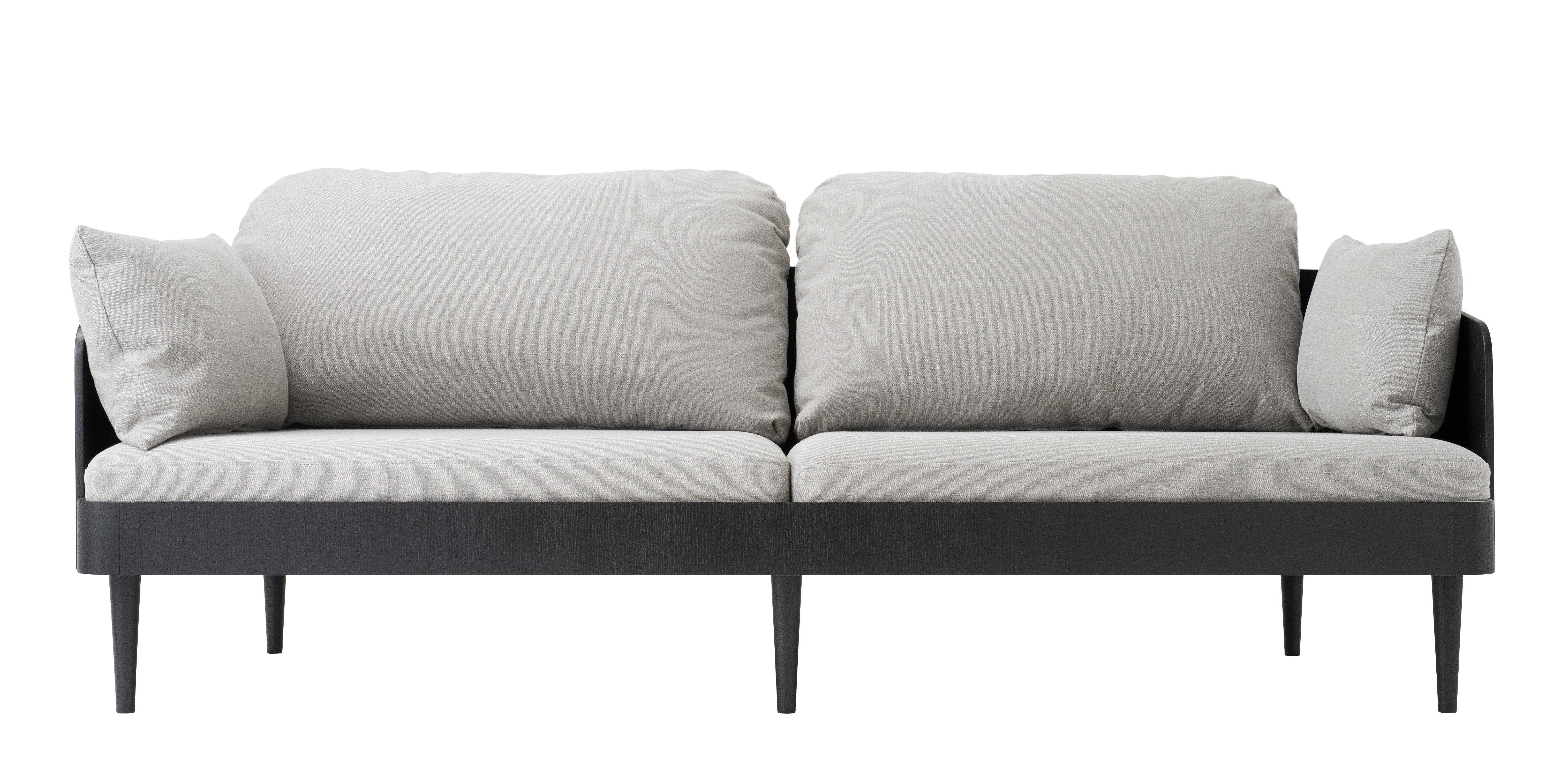 Mobilier - Canapés - Canapé droit Septembre / Tissu - 3 places L 198 cm - Menu - Tissu gris clair / Noir - Coton, Mousse, Placage de frêne teinté