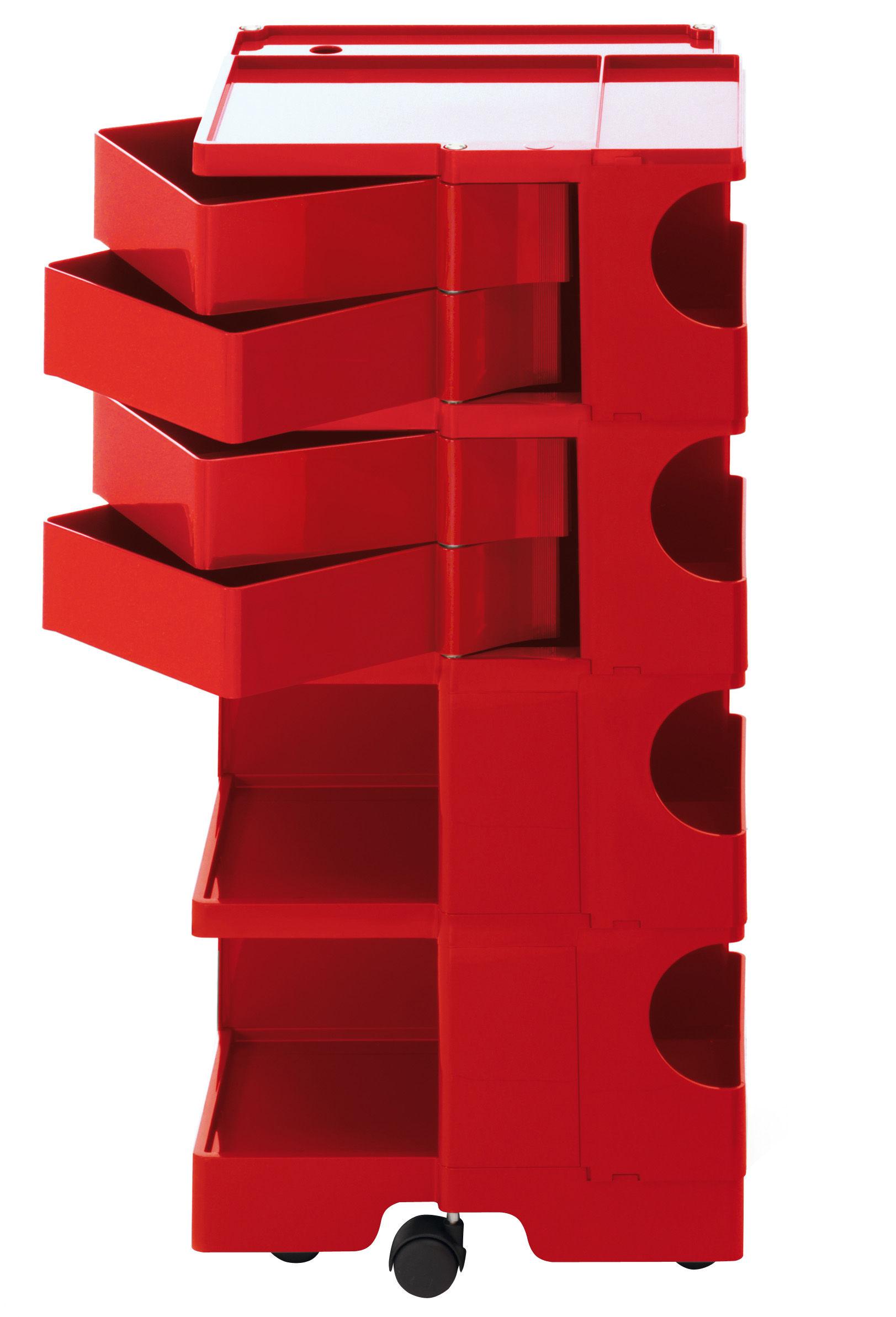 Arredamento - Complementi d'arredo - Carrello/tavolo d'appoggio Boby - h 94 di B-LINE - Rosso - ABS