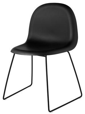 Chaise 3D / Coque plastique & pieds métal - Gubi noir en matière plastique