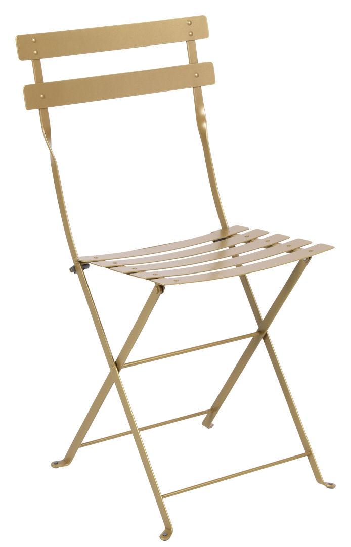 Mobilier - Chaises, fauteuils de salle à manger - Chaise pliante Bistro / Métal - Edition limitée - Fermob - Gold Fever - Acier laqué