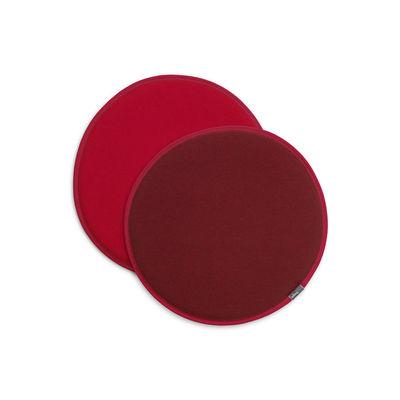 Déco - Coussins - Coussin d'assise Seat Dots / Ø 38 cm - Réversible - Vitra - Rouge / Rouge coquelicot - Mousse, Tissu