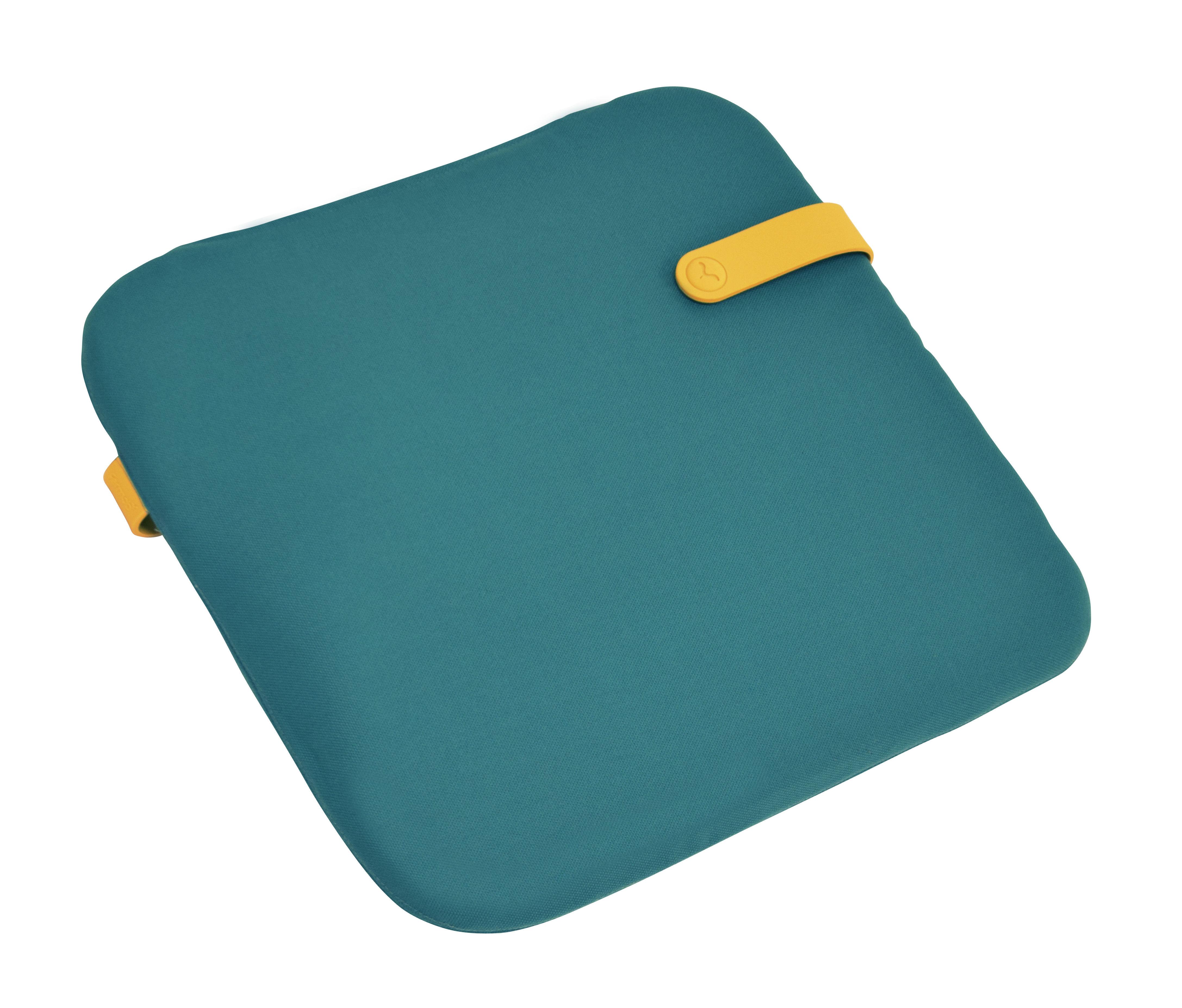 Interni - Cuscini  - Cuscino per la sedia Color Mix / 41 x 38 cm - Fermob - Blu goa / Cinghia miele - Espanso, PVC, Tessuto acrilico