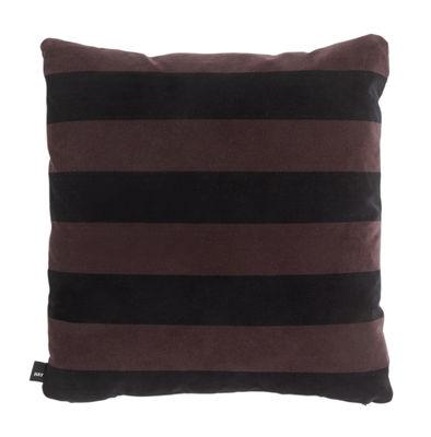Decoration - Cushions & Poufs - Soft Stripe Cushion - / 50 x 50 cm - Velours by Hay - Burgundy -  Plumes, Cotton