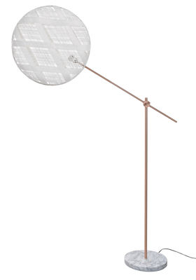 Lighting - Floor lamps - Chanpen Diamant Floor lamp - Ø 52cm - Diamond patterns by Forestier - White / Copper - Marble, Metal, Woven acaba
