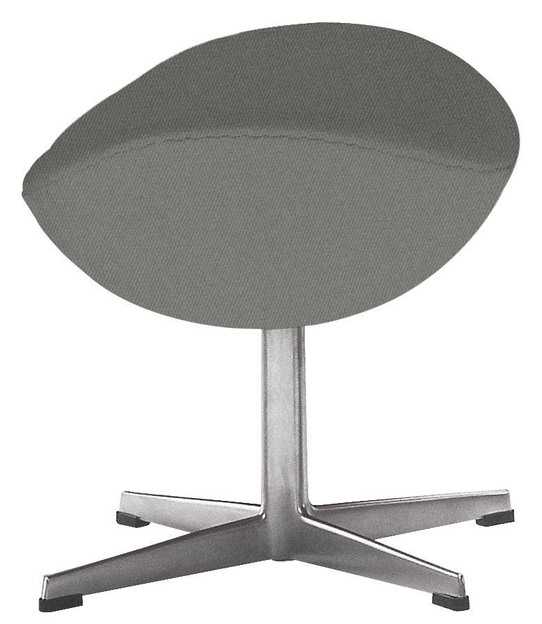 Furniture - Poufs & Floor Cushions - Egg Footrest - Fabric version by Fritz Hansen - Dark grey - Fabric, Foam, Polished aluminium, Resin