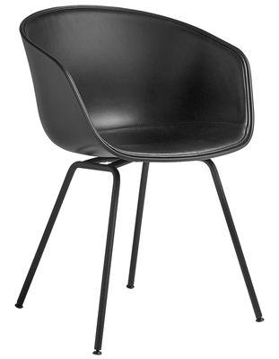Möbel - Stühle  - About a chair AAC26 Gepolsterter Sessel / Sitzfläche mit Leder ausgekleidet & Stuhlbeine Metall - Hay - Leder, schwarz / Stuhlbeine Metall, schwarz - bemalter Stahl, Leder, Polypropylen, Schaumstoff