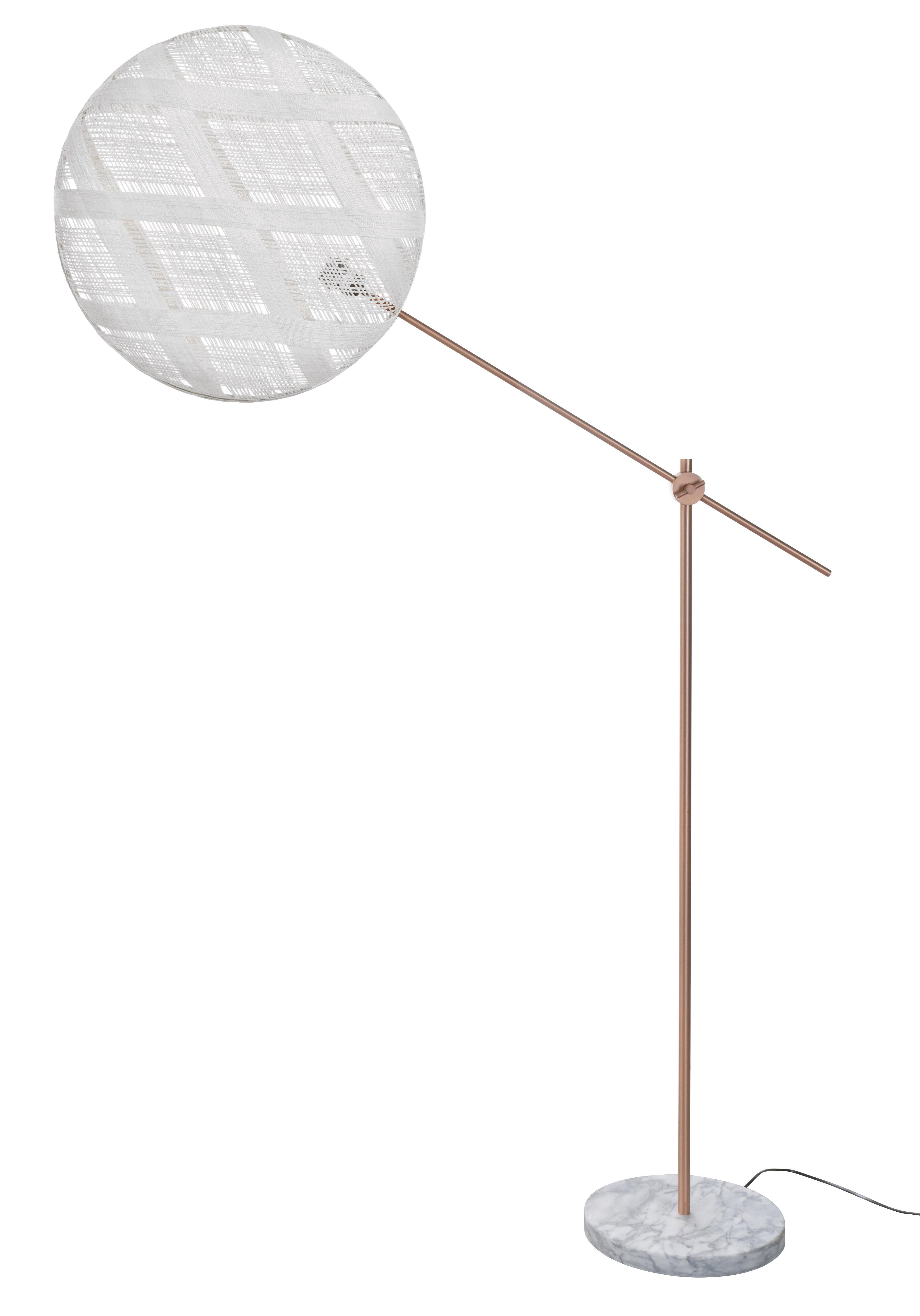 Illuminazione - Lampade da terra - Lampada a stelo Chanpen Diamant - / Ø 52 - Motivi losanghe di Forestier - Bianco / Rame - Marmo, Metallo, Tessuto in abaca