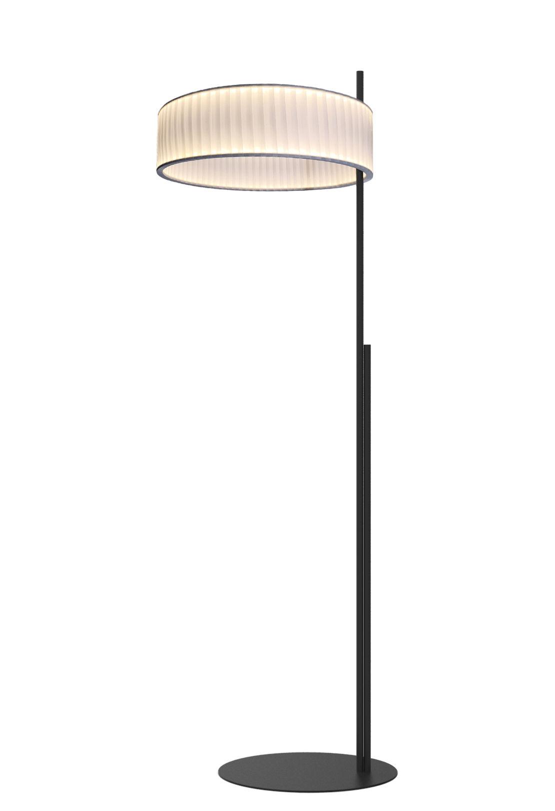 Luminaire - Lampadaires - Lampadaire Ronde / LED double flux - Ø 60 cm - Dix Heures Dix - Blanc - Inox, Métal laqué, Tissu