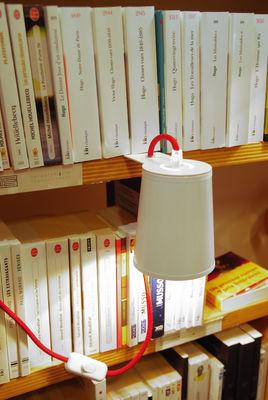 Luminaire - Lampes de table - Lampe Light Book pour étagères et bibliothèques - Designheure - Extérieur blanc / Intérieur or - Acier thermolaqué, PVC