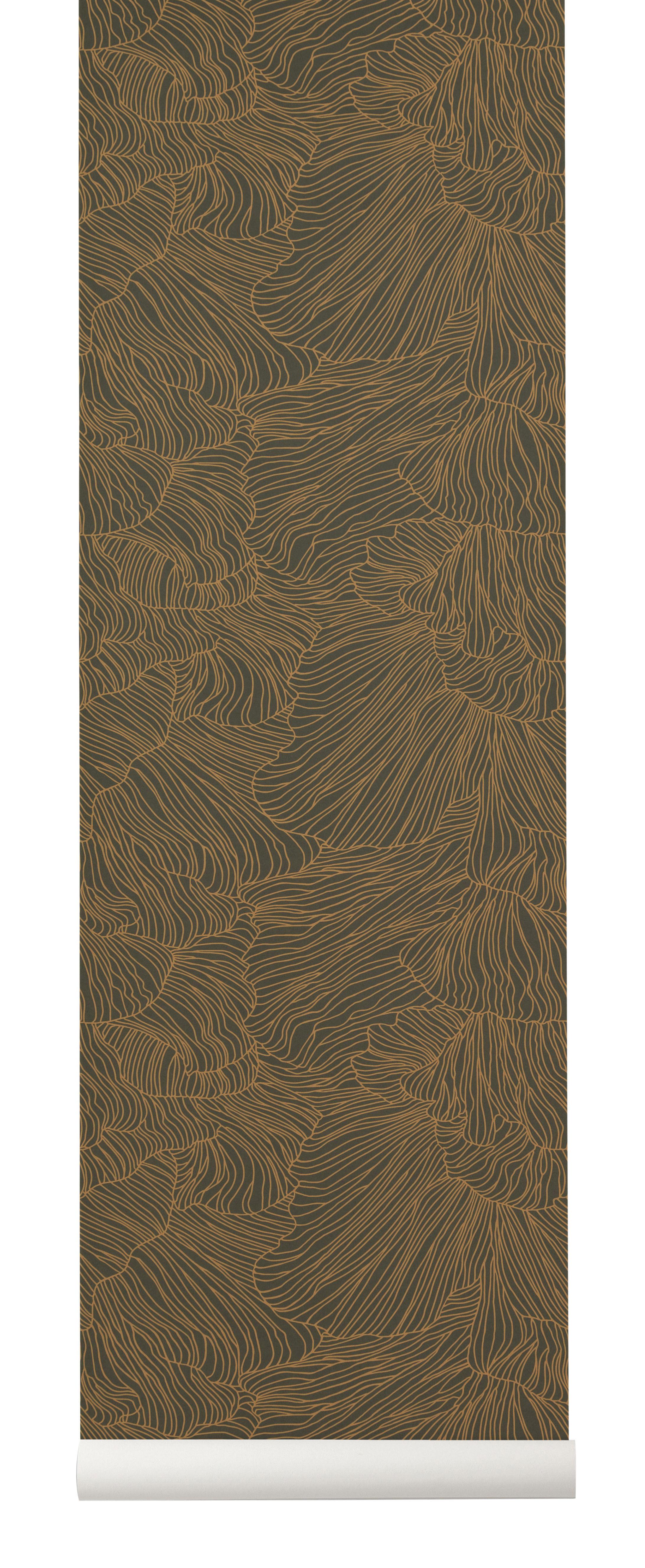 Déco - Stickers, papiers peints & posters - Papier peint Coral / 1 rouleau - Larg 53 cm - Ferm Living - Vert foncé / Or - Toile intissée