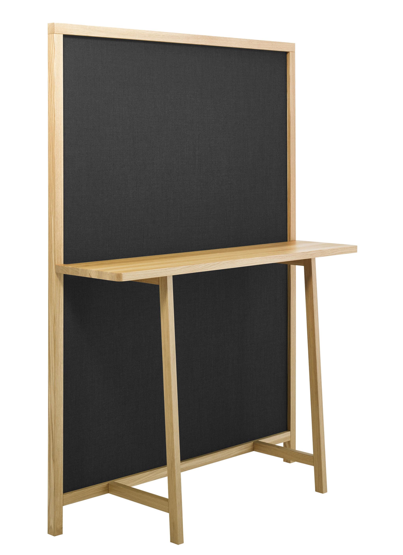 Arredamento - Console - Paravento Shoji / Console - L 130 x H 170 cm - Zanotta - Rovere naturale / Tissuto grigio scuro - Cotone, Rovere massello