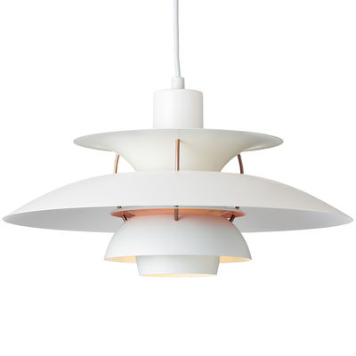 Lighting - Pendant Lighting - PH 5 Pendant by Louis Poulsen - White / Light pink internal disc - Aluminium