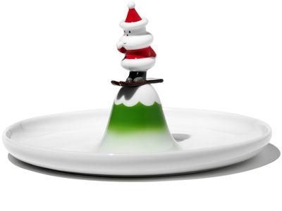 Tavola - Piatti  - Piatto di portata Scia Natalino - Piatto di A di Alessi - Bianco, verde & rosso - Ceramica