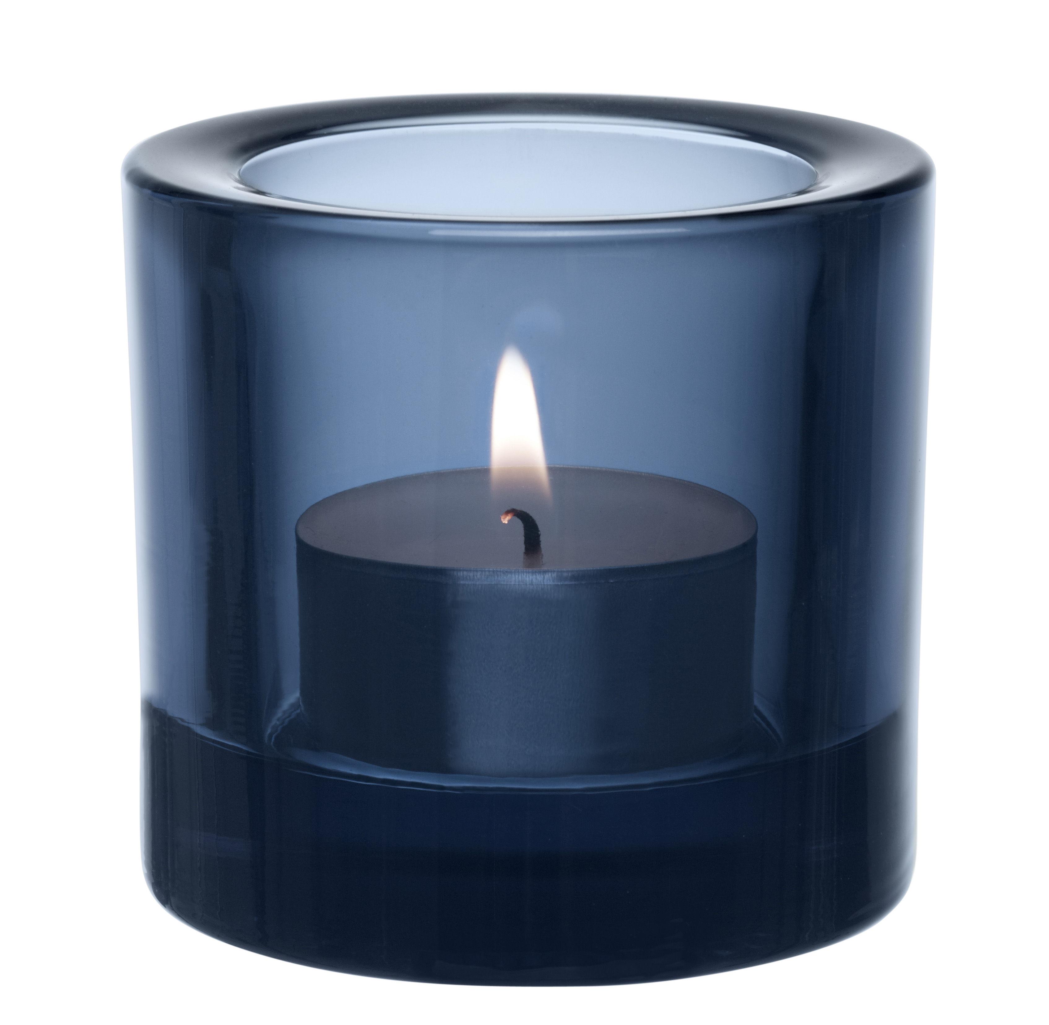 Interni - Candele, Portacandele, Lampade - Portacandela Kivi / H 6 cm - Iittala - Blu pioggia - Vetro