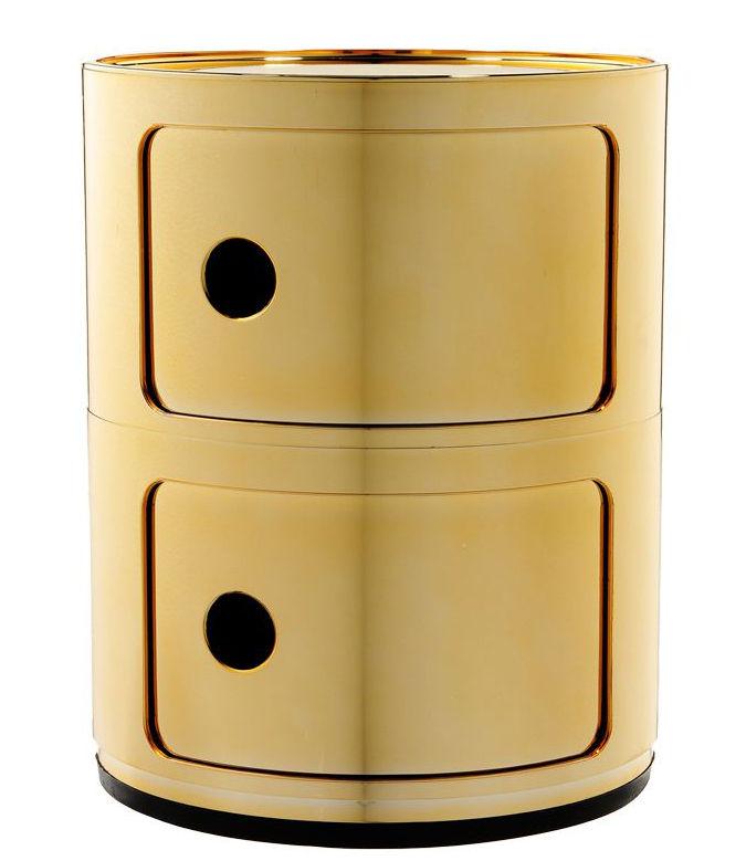 Arredamento - Raccoglitori - Portaoggetti Componibili - / 2 cassetti - Metallizzato di Kartell - Or - ABS