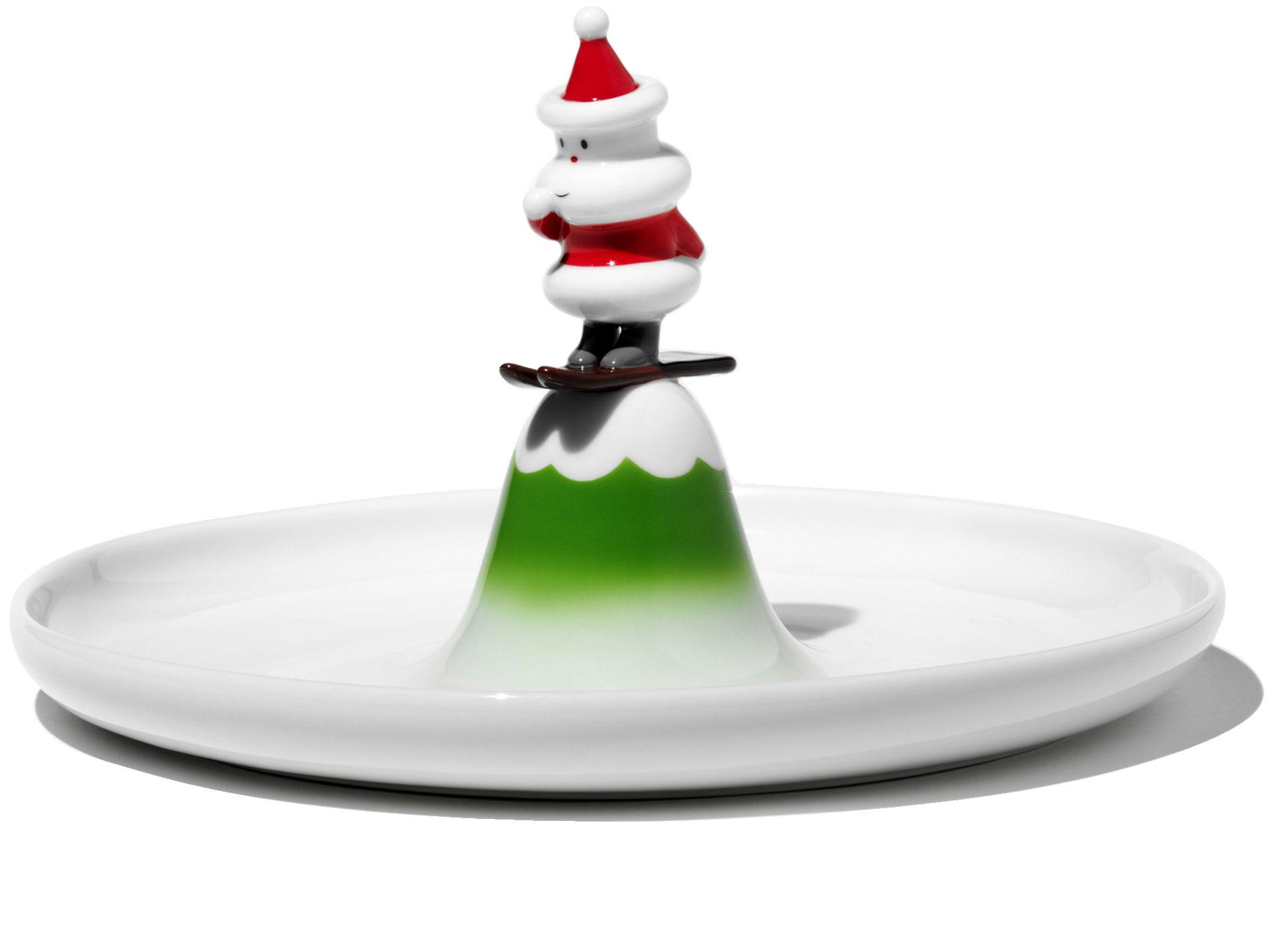 Tableware - Plates - Scia Natalino Presentation plate - Pastry plate by A di Alessi - White, green & red - Ceramic