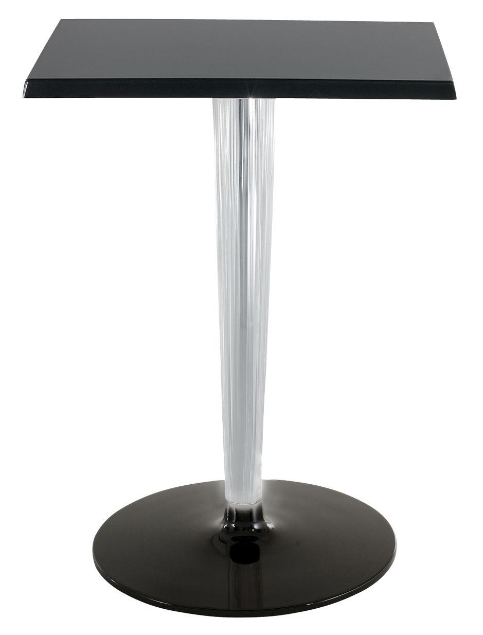 Outdoor - Tische - TopTop - Dr. YES quadratischer Tisch mit eckiger Tischplatte 70 x 70 cm - Kartell - 70x70 cm - Schwarz / Sockel und Fuß rund - klarlackbeschichtetes Aluminium, Melamin, PMMA