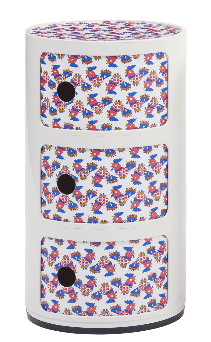 Mobilier - Mobilier Kids - Rangement Componibili La Double J / 3 tiroirs - H 58 cm - Kartell - Blanc galletti - ABS