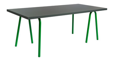 Furniture - Dining Tables - Trion Rectangular table by Hay - L 220 cm / Dark Grey & green Legs - Lacquered steel, Laminate, Linoleum