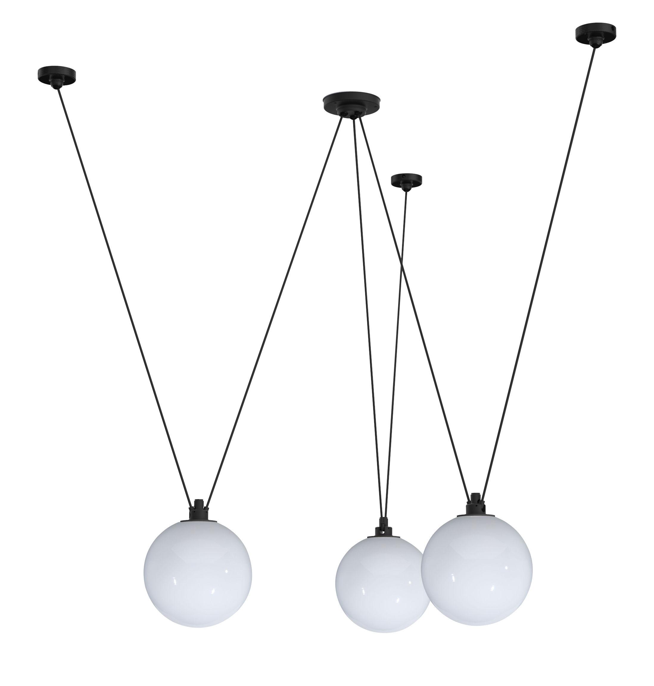 Luminaire - Suspensions - Suspension Acrobate N°325 / Lampe Gras - 3 abat-jours verre Ø 25 cm - DCW éditions - Blanc - Verre