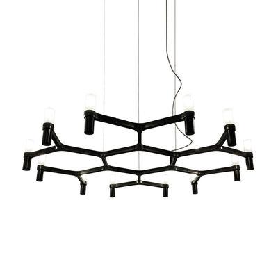 Luminaire - Suspensions - Suspension Crown Plana Minor / Ø 109 cm - Nemo - Noir - Aluminium peint, Verre sablé