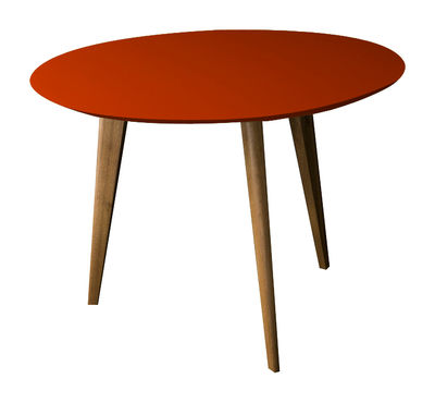 Table basse Lalinde large Ø 55 cm / Pieds bois - Sentou Edition rouge,noir en bois