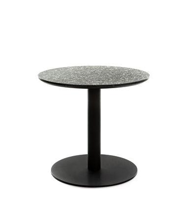 Mobilier - Tables basses - Table basse Terrazzo / Ø 50 cm - XL Boom - Terrazzo noir / Noir - Terrazzo