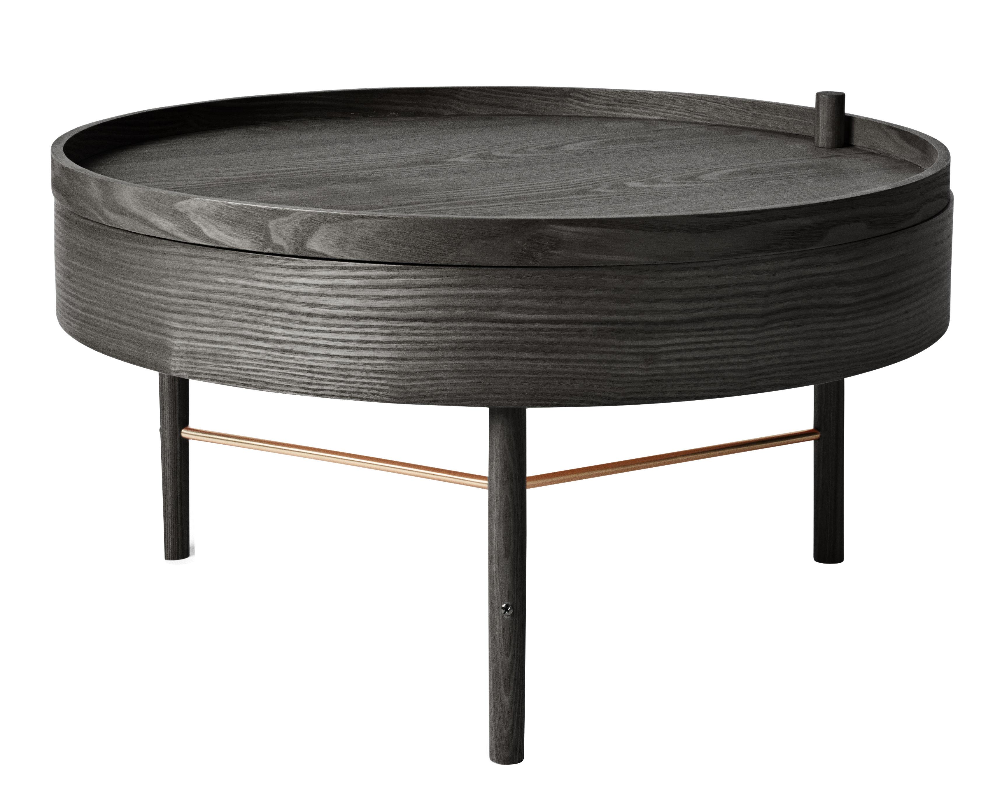 Mobilier - Tables basses - Table basse Turning table / Rangement - Ø 65 cm - Menu - Frêne noir / Tiges laiton - Frêne, Laiton