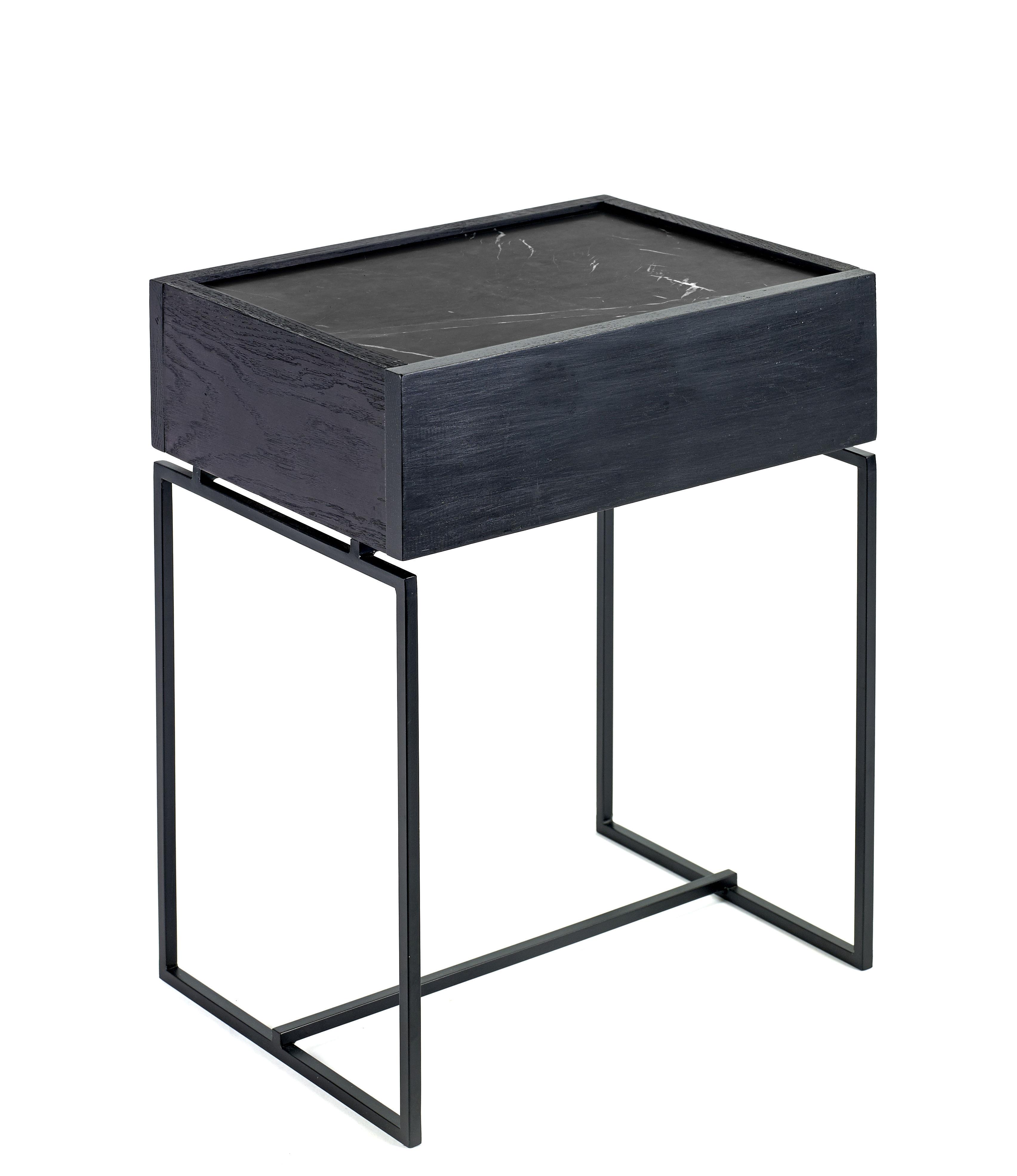 Mobilier - Tables basses - Table d'appoint Nero / Tiroir - Marbre & bois - Serax - Marbre noir  / Pied noir - Bois peint, Marbre, Métal