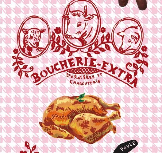 Dekoration - Stickers und Tapeten - Boucherie extra Tapete / 1 Bahn - Domestic - Boucherie Extra / mehrfarbig - imprägniertes Papier