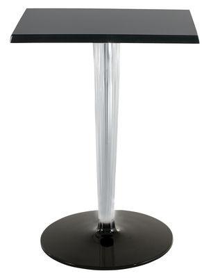 Jardin - Tables de jardin - Table carrée TopTop - Dr. YES / 70x70 cm - Kartell - 70x 70 cm - Noir/ base et pied ronds - Aluminium verni, Mélamine, PMMA