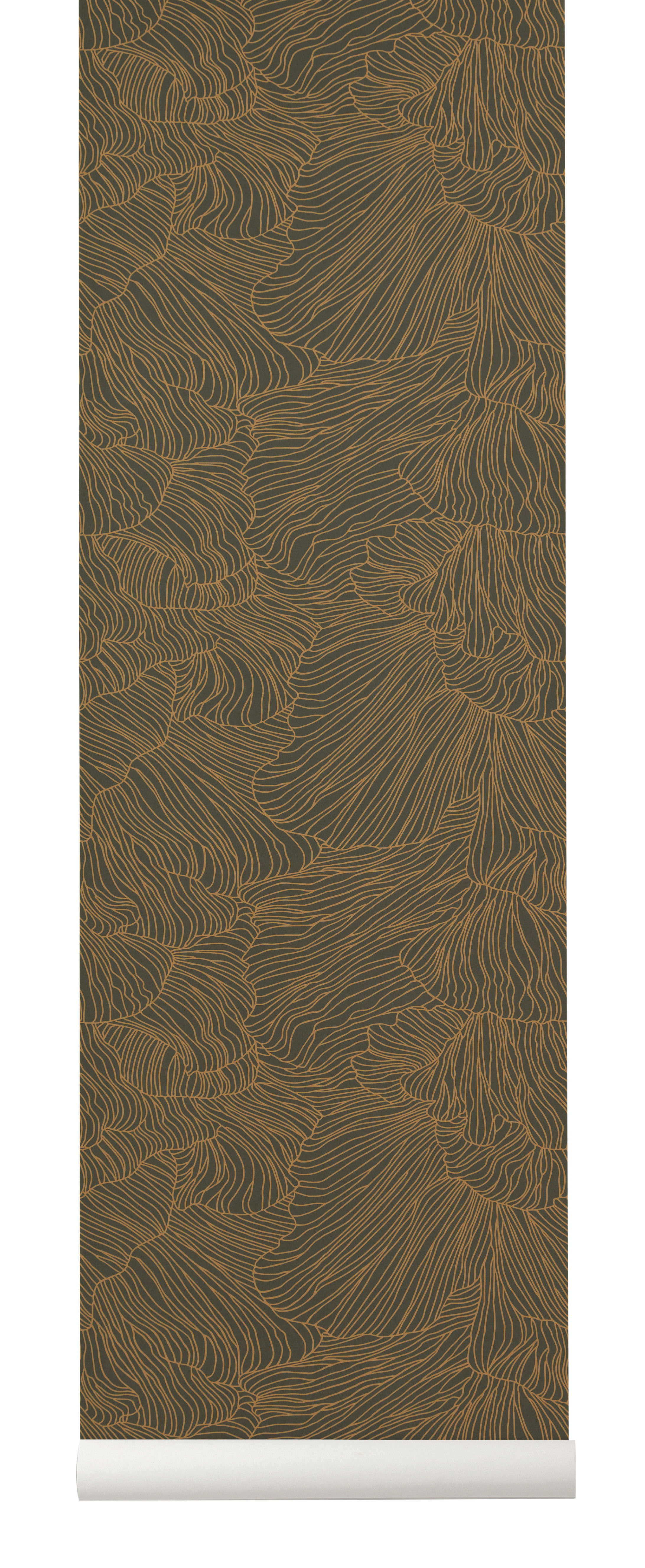 Decoration - Wallpaper & Wall Stickers - Coral Wallpaper - / 1 roll - Width 53 cm by Ferm Living - Dark green / Gold - Non-woven fabric