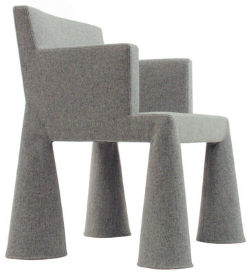 Furniture - Teen furniture - V.I.P. Chair Armchair on casters by Moooi - Light grey - Foam, Steel, Wool