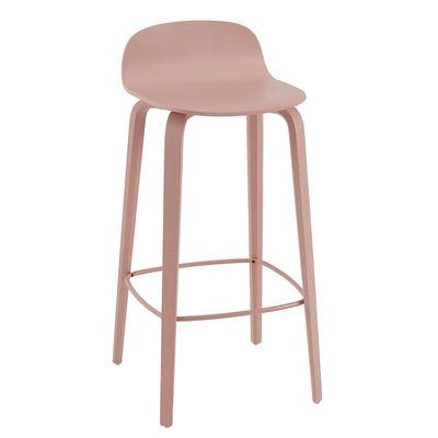 Furniture - Bar Stools - Visu Bar stool - / Wood - H 75 cm by Muuto - Pale pink / Pink footrest - Oak plywood, Varnished steel