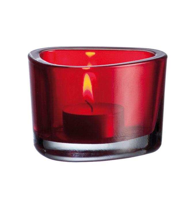 Déco - Bougeoirs, photophores - Bougeoir Organic - Leonardo - Rouge - Verre pelliculé